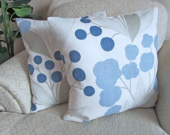 Kravet Decorator Pillow Covers, Blue Designer Pillow Covers, Blue Home Decor, Cushion Covers, Floral Pillow Covers - Set of Two - 18 x 18