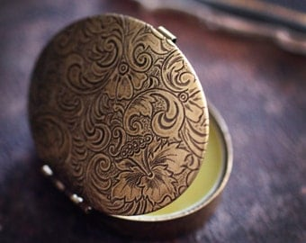 Natural Solid Perfume within a Tapestry Byzantine Compact  - Womens Oval Travel Case - An organic, vital nature fragrance