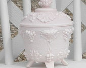 Pink Shell Milk Glass Covered Candy Dish Grapes And Leaves Jeanette Glass Company Vintage