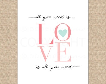 Beatles // All you need is Love // Archival Giclee Art Print for Nursery / Child's Room // N-G29-1PS AA1