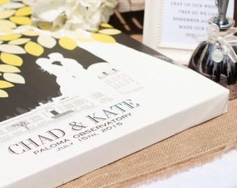 Custom Wedding Guestbook, Unique Guestbook idea,Personalized Skyline & Silhouette //Wedding Art // 100+ Signature Guestbook // W-T05-1PS HH3