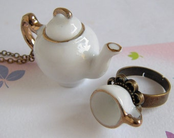 Teapot Necklace, Tea Cup Ring, Miniature Ceramic Jewelry Set, Classic White