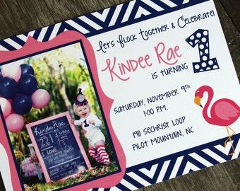 Flamingo Birthday Invitation | First Birthday Photo Invitation | Custom Photo Invitation