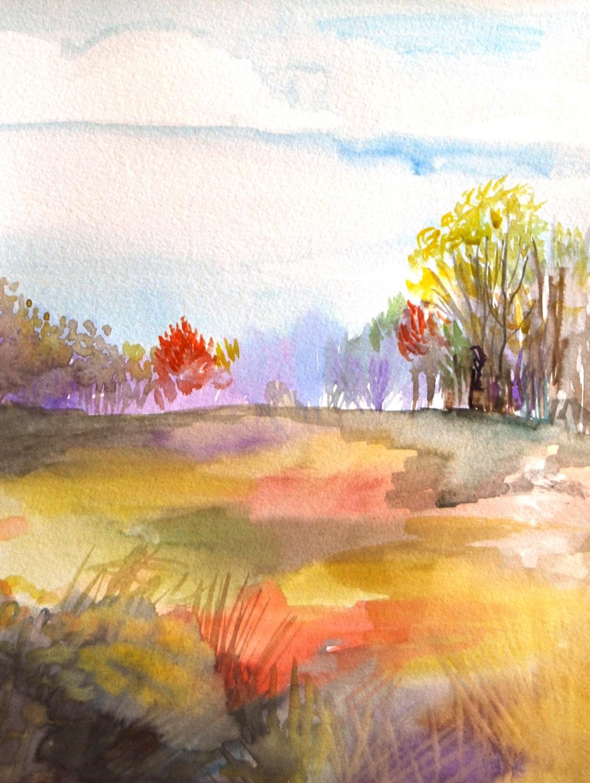 Watercolor painting landscape original art first frost for My first watercolor painting