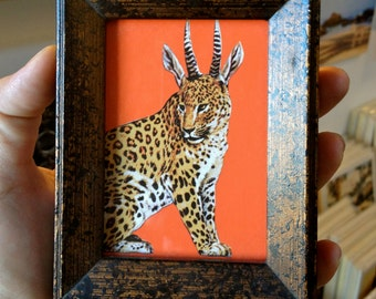 Animal Art, Mini Framed Picture, Quirky Leodeer Hybrid