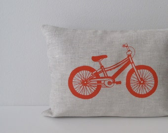 Pillow Cover - Mountain Bike in Orange on Natural Beige Linen - 12 x 16 inches - Accent Pillow