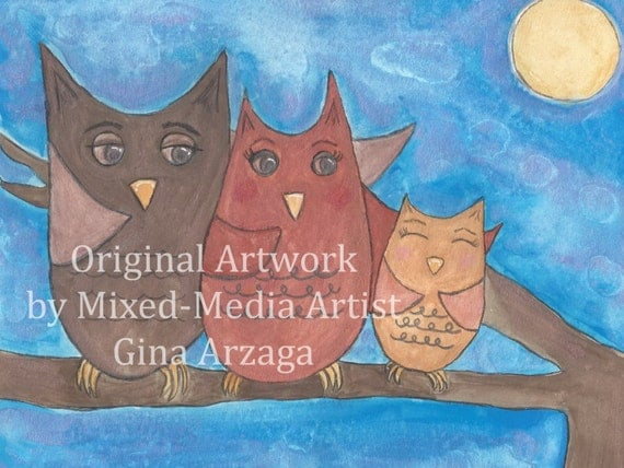 Owl-ways Watching Over You - Print of Original Painting by Gina Arzaga