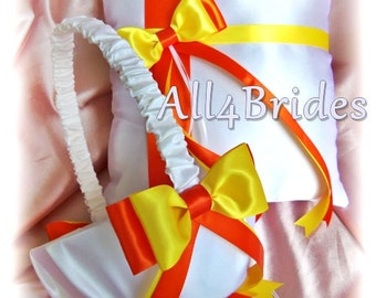 Wedding Ring Pillow and Basket, Orange and Yellow - Ring Bearer Pillow and Flower Girl Basket - Weddings Ceremony Decor