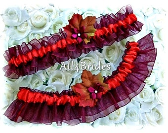 Fall Leaves Wedding Bridal Leg Garters Burgundy and Persimmon, Bridal Leg Garter Belt Set