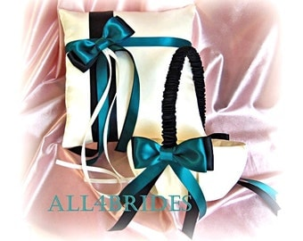 Teal and black wedding flower girl basket and ring bearer pillow, wedding ring cushion and basket set