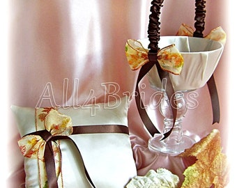 Fall Leaves Wedding Basket and Pillow, Champagne and Chocolate Brown Maple Leaves Wedding, Autumn Fall Wedding Decorations