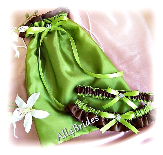 Wedding money dance bag and garters set | chocolate brown and green bridal drawstring bag and keepsake and toss garters