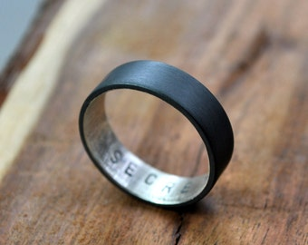 Personalized Sterling Silver Secret Message Ring. Custom Stamped Wedding Band. Oxidized. 6mm. Wedding Ring. Flat Ring. Black. Grey