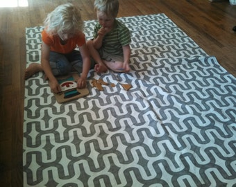 Waterproof PICNIC BLANKET or Baby Play Mat - 60 x 80 - Stormy Grey Embrace