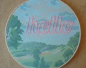 Embroidered Hello on Scenic Paint by Number Fabric Hoop