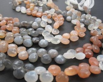 Rainbow Moonstone Briolettes, Peach Moonstone Bead, Drops, Multi Color Moonstone, Gray Moonstone, White Moonstone, SKU 3554