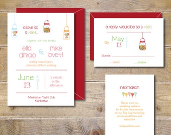 Candy Wedding Invitations . Candy Theme Wedding . Candy Invitations . Lollipop Wedding . Gumball Wedding - A Love So Sweet