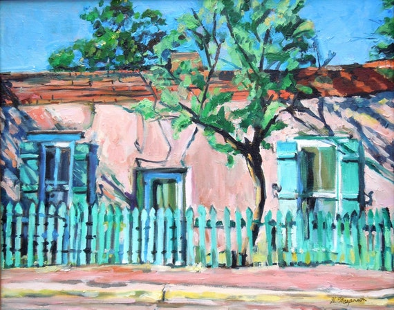 Southwestern Painting Fine Art Print 8x10, New Mexico Canyon Road Adobe House Santa Fe Painting turquoise pink Gwen Meyerson