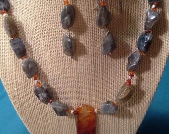 Labradorite Necklace Earrings Set Carnelian Necklace Agate Pendant Fine Silver Hill Tribe, Freeform Gray Orange Rust Blue Flash Grey Gift