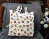 Cotton Shopping Tote Bag, Sweater Tossed Print