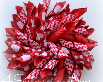Red Hearts Large Korker bow with Red Chevron Print