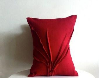 sculpted grass accent pillow - red raspberry linen - textured pillow