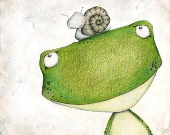 "children's wall art - frog - snail - woodland creatures - friends - garden - illustration - ""STUCK ON YOU!"""