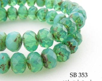 8mm Czech Glass Beads Rondelle Sea Mist Turquoise 8mm x 5mm (SB 353) 12 pcs Blue Echo Beads