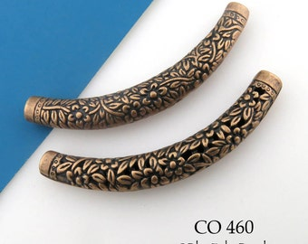 67mm Large Curved Tube Copper Bead Flower Engraved Tube Bead (CO 460) 1 pc BlueEchoBeads
