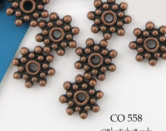 9mm Antiqued Copper Beads 9mm Star Rondelle (CO 558) 25 pcs BlueEchoBeads