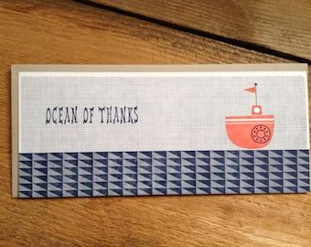 Ocean Of Thanks Nautical Letterpress Card