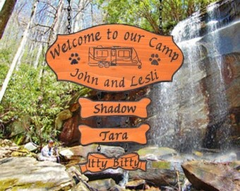 RV Camping Wooden Sign - Custom Carved RV Cedar Sign  with three addons