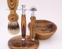 Bocote Wood Shaving Set:  24mm Super Silvertip Brush, Edwin Jagger DE Safety Razor, Stand and Bowl (Handmade in USA)  B2