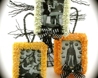 """Pin Up Witch Halloween Ornaments/ Door Hangers with Vintage Images of Pin Up Witches """"Sweet Box Ornament Collection"""" Autumn/ Halloween Decor"""