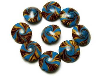 """Focal Beads Handmade Polymer Clay Set of Nine Lentil Shape Turquoise Gold Brown 1/2"""" 13 mm Jewelry Supply"""