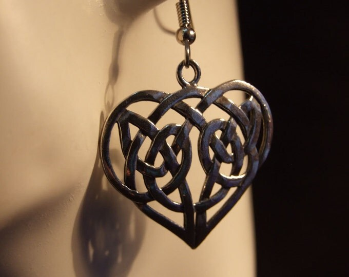 Celtic knot Heart shaped earrings made with Australian Pewter and Surgical Steel hook