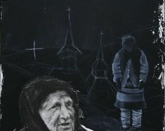 The Beatitudes – a Romanian woman, original drawing