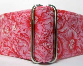 Pink and White Floral on Pink Cotton Greyhound, Whippet, Saluki, Great Dane, Galgo Martingale Collar