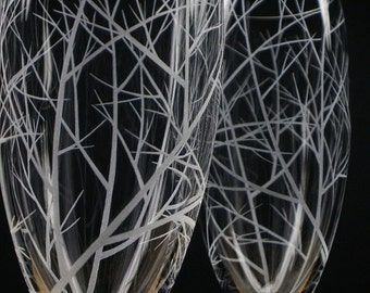 Two Champagne Flutes Hand Engraved 'Reaching Branches' Woodland Wedding