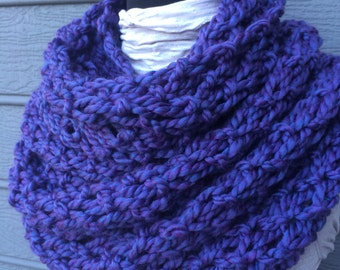 Purple Knit Scarf - Huge Scarf - Chunky Knit