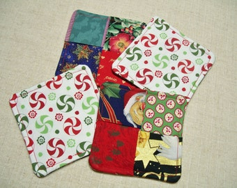 SALE - Christmas Fabric Coasters, Set of 4, Folded Fabric Design, Xmas Holiday, Red & Green, Shabby Chic, Reversible