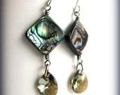 Paua Shell and Swarovski Crystal Earrings