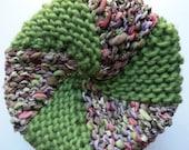 Knit hat for women, warm winter snow pinwheel cap, size M-L teenage girl adult, lime green pink purple, warm wool hand knit ski beanie i783B