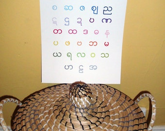 Myanmar Alphabet Poster 11x14 - Burma