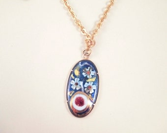 Gold Toned Chain with Gold Hand Painted Flowers Oval Pendant