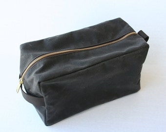 Brown Waxed Canvas Dopp Kit by Overlap, Ready to ship