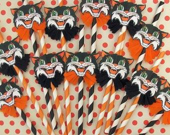 Vintage Halloween Black Striped, and Orange Striped Cat Party Straws