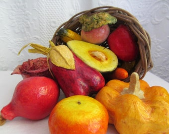 Thanksgiving Centerpiece Paper Mache Fruit Vegetable Harvest  Autumn Fall Decor Cornucopia