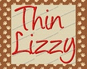 Thin Lizzy Embroidery Fonts 5 Sizes