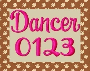 Dancer Machine Embroidery Font 3 Sizes